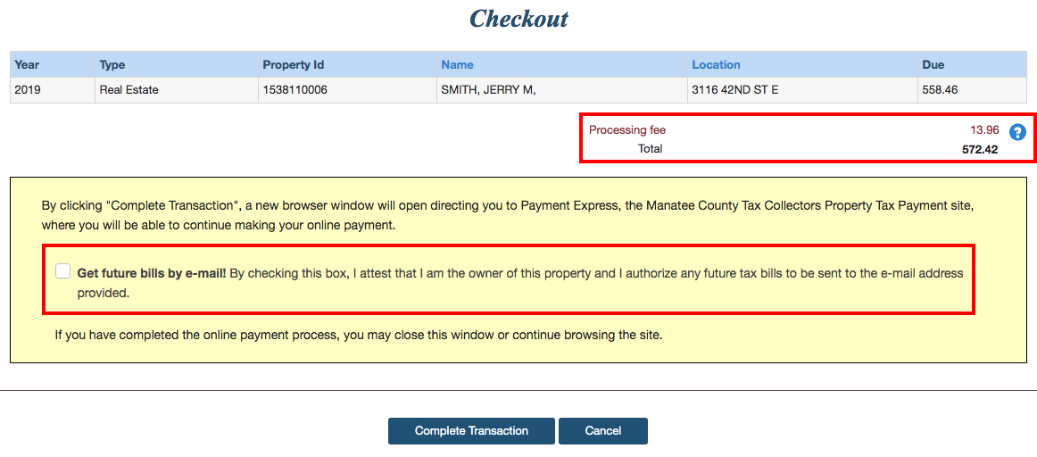 This image displays the checkout page with the contents of the cart and a highlighted area displaying the processing fee and total amount due. Additionally shows a highlighted area with checkbox that a user can check if they wish to get future bills by emails.